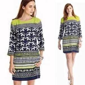 Crown & Ivy   Shift Dress Pockets Elephant Print